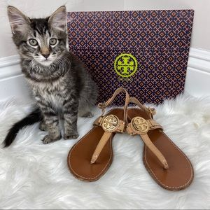 Tory Burch Nude Mini Miller Ankle Strap Sandals 8